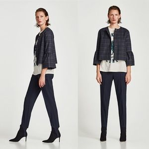 ZARA Tartan Plaid Bell Sleeve Boxy Jacket Blazer